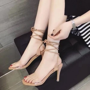Women's Khaki Strappy Open Toe Clear Stiletto Heels Sandals