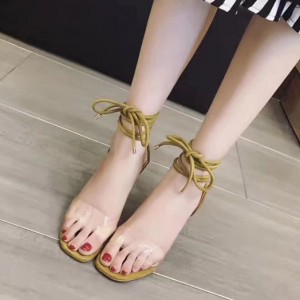 Green Strappy Open Toe Clear Shoes Stiletto Heels Sandals