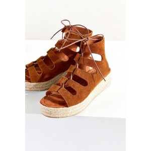 Brown Open Toe Wedge Heel Sandals Hollow-out Vintage Shoes
