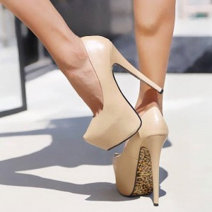 Beige Stilettos Platform Pumps Super High Heels Leopard Shoes