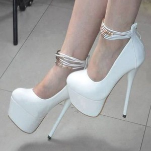 White Platform Heels Ankle Strap Stiletto Heels Pumps High Heel Shoes