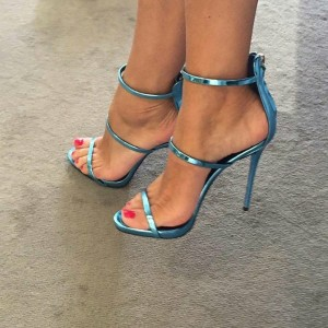 Blue Mirror Leather Three-Strap Open Toe Stiletto Heel Sandals