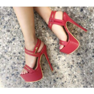 Red Platform Heels Golden Zipper Stiletto Heel Open Toe Sandals
