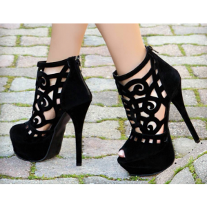 Black Summer Boots Peep Toe Laser Cut Platform Sexy Shoes