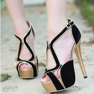 Women's Black and Golden Stiletto Heels Platform Sandals