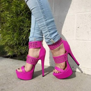 Women's  Pink Hollow-out Platform Stiletto Heel Ankle Strap Sandals