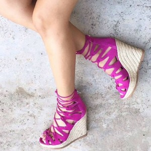 Fuchsia Wedge Heel  Strappy Lace-up Sandals for Women