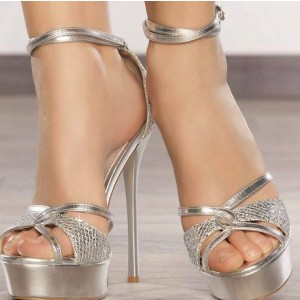 Silver Platform Sandals Ankle Strap Open Toe Stiletto Heels