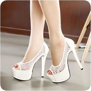 Women's White Heart Shaped Lace Pumps Platform Stiletto Bridal Shoes