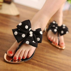 Women's Black and White Polka Dots Summer Sandals Flip Flops with Bow