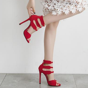 Women's Red Open Toe  Stiletto Heel Ankle Strap Sandals