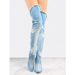 Women's Blue Chunky Heels Over-The- Knee Denim Boots