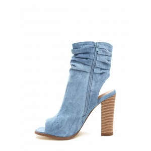 Blue Denim Boots Open Toe Chunky Heel Slouch Boots