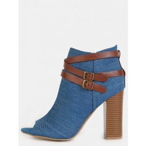 Women's Blue Jeans Peep Toe Ankle Buckle  Denim Boots
