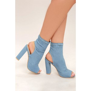 Light Blue Denim Boots Peep Toe Slingback Chunky Heel Sock Boots
