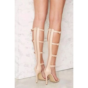 Nude Gladiator Sandals Stiletto Heels Open Toe Sexy Shoes