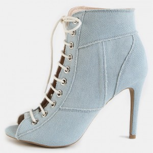 Light Blue Denim Boots Peep Toe Stiletto Heel Lace up Ankle Booties