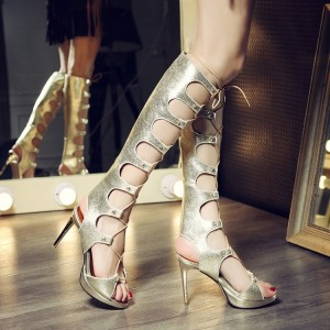 Women's Golden Stilettos Stripper Strappy Heels Gladiator Sandals for Night Club