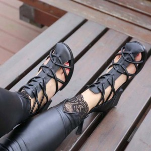 Black Block Heel Sandals Round Toe Comfortable Shoes