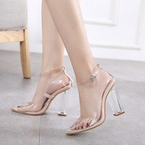 Women's White Clear Chunky Heels Pointy Toe Ankle Strap Sandals
