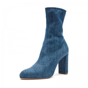Women's Blue Jeans Skinny Ankle Booties Round Toe Denim Boots