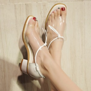 Women's Transparent Chunky Heels School Shoes Open Toe Sandals