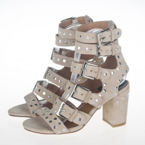 Beige Studs Shoes Suede Block Heel Sandals with Buckles