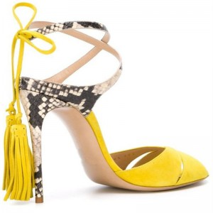 Yellow Tassel Sandals Peep Toe Suede and Python Stiletto Heels