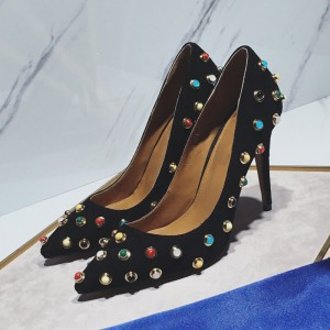 Black Stiletto Heels Pointy Toe Colorful Studded Suede Pumps