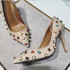 Beige Stiletto Heels Suede Colorful Studded Pumps