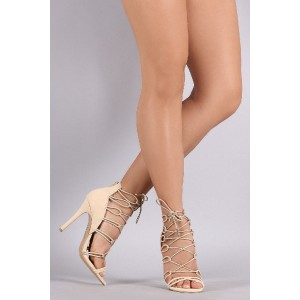 Beige Strappy Sandals Lace up Suede Stiletto Heels