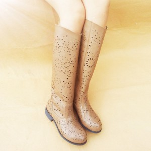 Khaki Summer Boots Laser Cut Vintage Knee Boots for Women