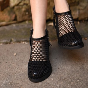 Black Summer Boots Round Toe Net Flat Fashion Short Boots