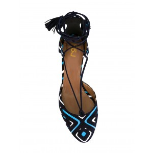 Black Strappy Sandals Closed Toe Block Heels for Girls