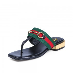 Dark Green Summer Sandals Elastic Belt Flip-flops