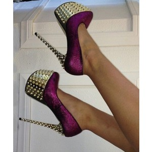 Purple Glitter Rivets Decorated Stiletto Heel Stripper Shoes