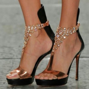 Rose Gold Evening Shoes Jeweled Sandals Open Toe Stiletto Heels