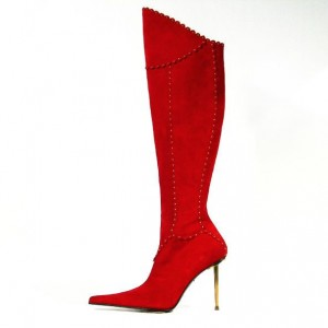 Red Stiletto Heels Pointy Toe Suede Knee-high Boots for Christmas