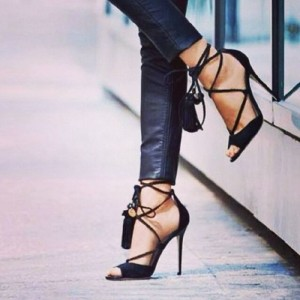 Black Sexy Strappy Sandals Open Toe Suede Stiletto Heels