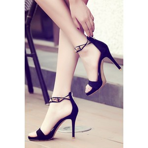 Black and Gold Metal Ankle Strap Sandals Open Toe Stiletto Heels