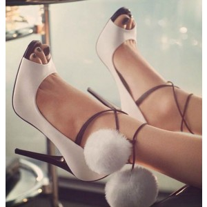 Women's white Ankle Strap Stiletto Heel Pumps with Fury Balls and platform
