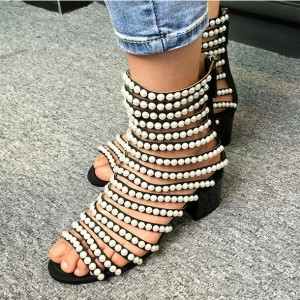 Women's White Black  Gladiator Pearl Chain Chunky Heel Peep Toe Sandals