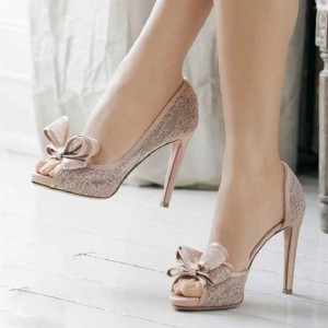 Blush Wedding Shoes Peep Toe Lace Stiletto Heels with Bow by FSJ