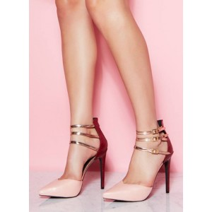 Blush Stiletto Heels Ankle Buckles Closed Toe Sandals