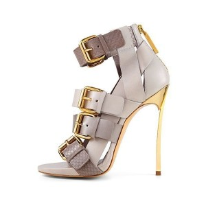 Grey Vegan Shoes Open Toe Multi-buckle Blade Heel Sandals