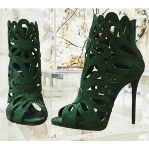 Green Suede Laser Cut Peep Toe Sexy Stiletto Heel Sandals