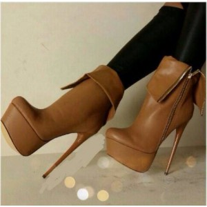 Tan Stiletto Boots Platform Almond Toe High Heels Stripper Shoes