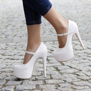 White Mary Jane Pumps Platform Stiletto Heels for Women
