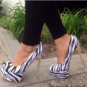 Black and White Heels Zebra Platform Pumps Stiletto Heels with Rivets