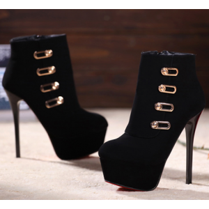 Black Stiletto Heels Platform Booties with Gold Buckles